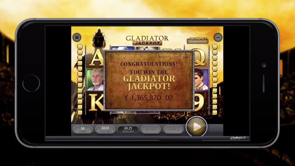 Mother of two wins £1.36m on Playtech's Gladiator slot