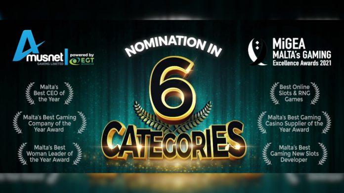 EGT Interactive Amusnet Gaming nominated